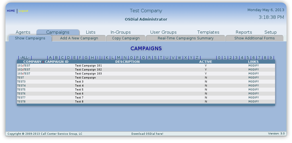 screenshot of the campaigns interface